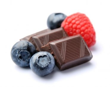 Dark chocolate with berries.